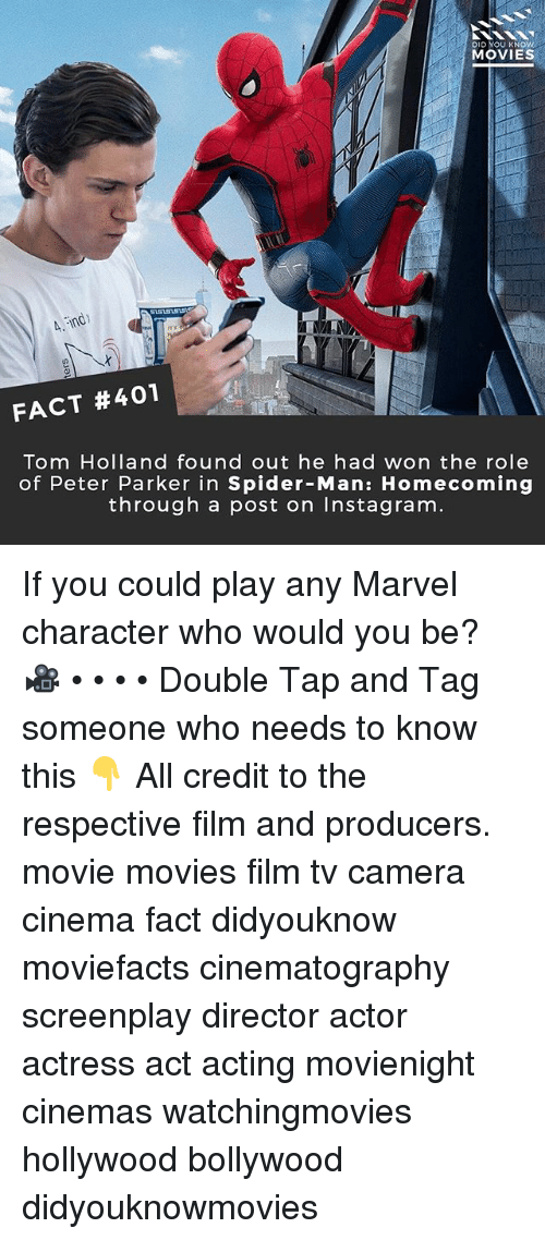 tom hollander: DID YOU KNOW  MOVIES  FACT #401  Tom Holland found out he had won the role  of Peter Parker in Spider-Man: Homecoming  through a post on Instagram If you could play any Marvel character who would you be? 🎥 • • • • Double Tap and Tag someone who needs to know this 👇 All credit to the respective film and producers. movie movies film tv camera cinema fact didyouknow moviefacts cinematography screenplay director actor actress act acting movienight cinemas watchingmovies hollywood bollywood didyouknowmovies