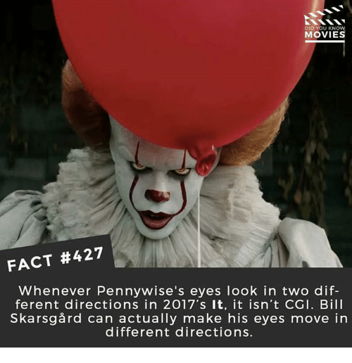 Facts, Memes, and Movies: DID YOU KNOW  MOVIES  FACT #427  Whenever Pennywise's eyes look in two dif-  ferent directions in 2017's It, it isn't CGI. Bill  Skarsgård can actually make his eyes move in  different directions.