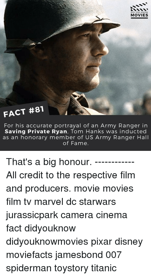Disney, Memes, and Pixar: DID YOU KNOW  MOVIES  FACT #81  For his accurate portrayal of an Army Ranger in  Saving Private Ryan, Tom Hanks was inducted  as an honorary member of US Army Ranger Hall  of Fame. That's a big honour. ------------ All credit to the respective film and producers. movie movies film tv marvel dc starwars jurassicpark camera cinema fact didyouknow didyouknowmovies pixar disney moviefacts jamesbond 007 spiderman toystory titanic