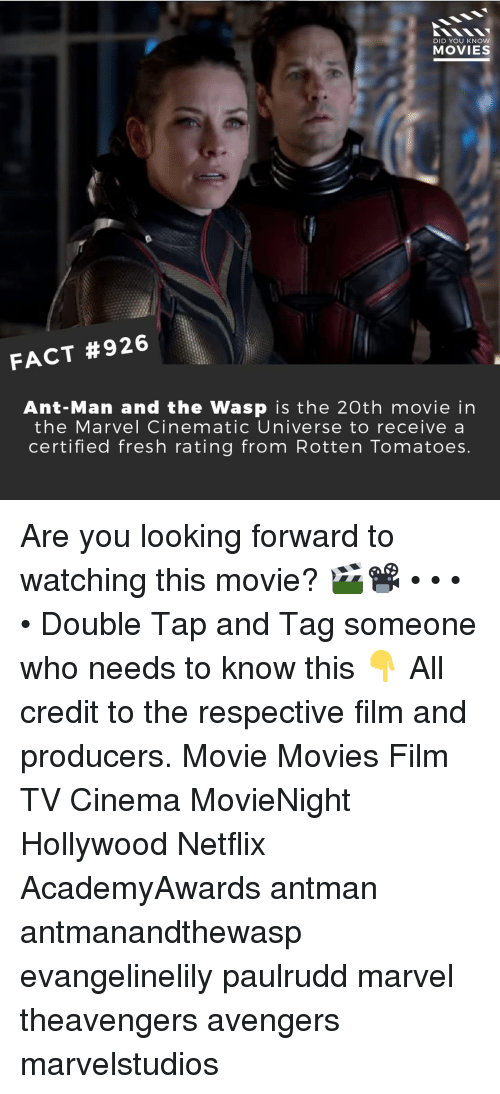 the wasp: DID YOU KNOW  MOVIES  FACT #926  Ant-Man and the Wasp is the 20th movie in  the Marvel Cinematic Universe to receive a  certified fresh rating from Rotten Tomatoes Are you looking forward to watching this movie? 🎬📽️ • • • • Double Tap and Tag someone who needs to know this 👇 All credit to the respective film and producers. Movie Movies Film TV Cinema MovieNight Hollywood Netflix AcademyAwards antman antmanandthewasp evangelinelily paulrudd marvel theavengers avengers marvelstudios