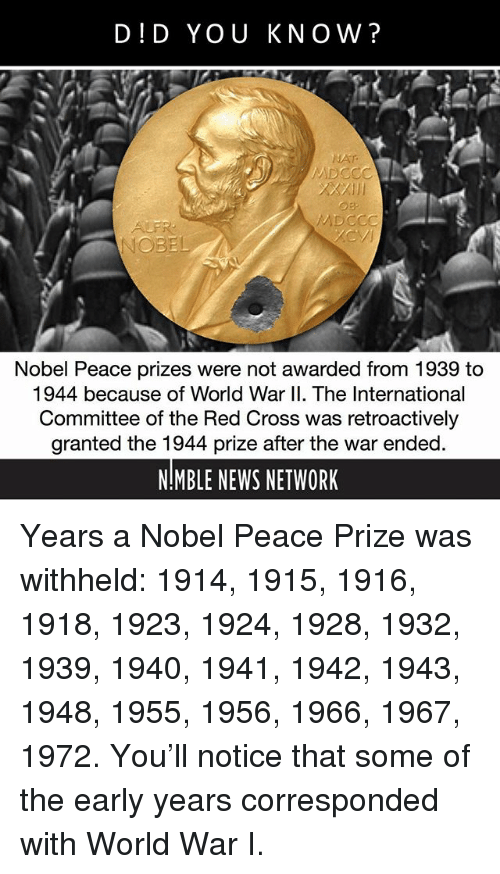Memes, News, and Cross: DID YOU KNOW?  NOBEL  Nobel Peace prizes were not awarded from 1939 to  1944 because of World War II. The International  Committee of the Red Cross was retroactively  granted the 1944 prize after the war ended  NMBLE NEWS NETWORK Years a Nobel Peace Prize was withheld: 1914, 1915, 1916, 1918, 1923, 1924, 1928, 1932, 1939, 1940, 1941, 1942, 1943, 1948, 1955, 1956, 1966, 1967, 1972. You'll notice that some of the early years corresponded with World War I.