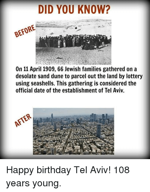 Dune: DID YOU KNOW?  On 11 April 1909, 66 Jewish families gathered on a  desolate sand dune to parcel out the land by lottery  using seashells. This gathering is considered the  official date of the establishment of Tel Aviv.  AFTER Happy birthday Tel Aviv!   108 years young.
