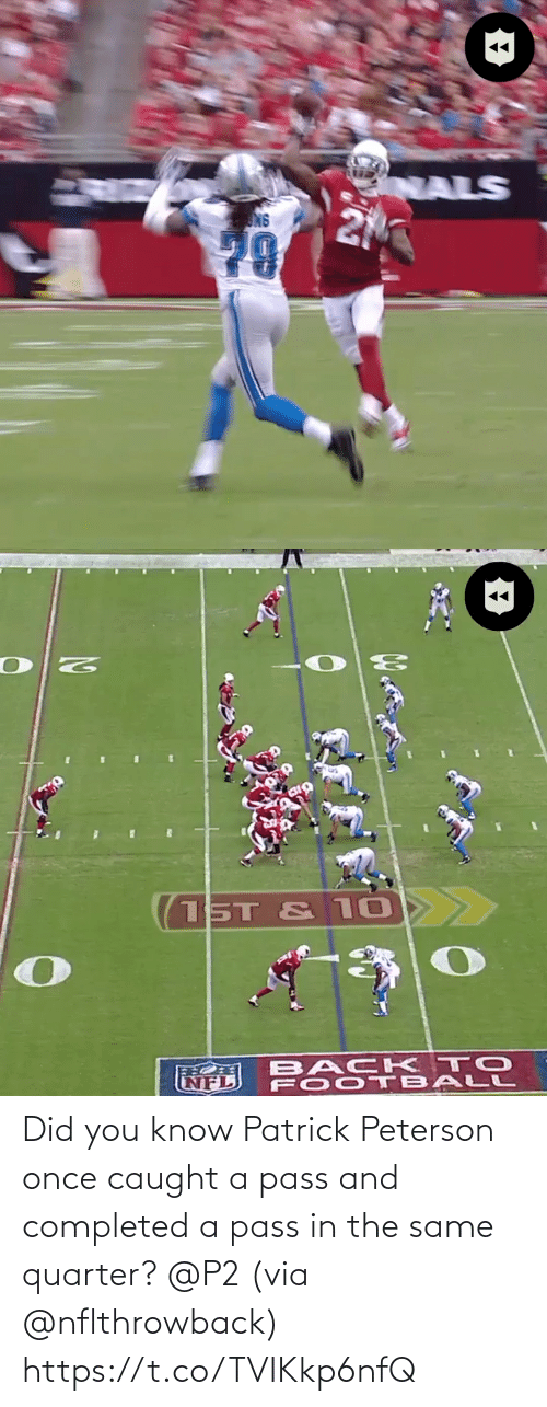 did you know: Did you know Patrick Peterson once caught a pass and completed a pass in the same quarter? @P2 (via @nflthrowback) https://t.co/TVIKkp6nfQ
