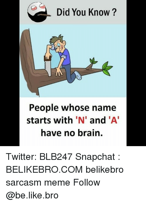 Be Like, Meme, and Memes: Did You Know?  People whose name  starts with 'N' and 'A  have no brain. Twitter: BLB247 Snapchat : BELIKEBRO.COM belikebro sarcasm meme Follow @be.like.bro