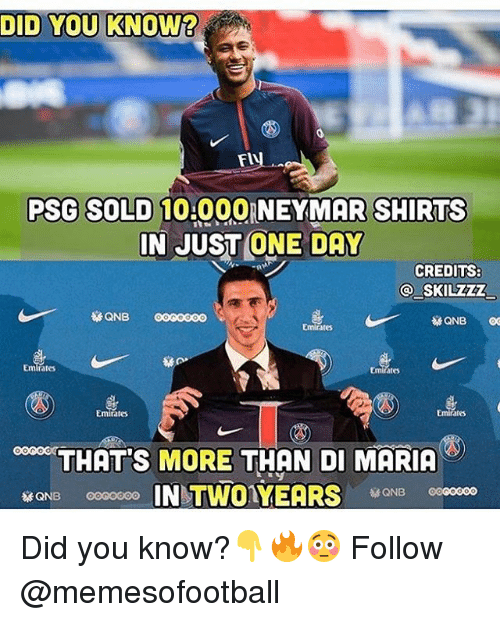 Soldes: DID YOU KNOW?  PSG SOLD 10.00  0 NEYMAR SHIRTS  IN JUST ONE DAY  CREDITS:  QNB 0000000  Emirates  ates  Emirates  THATS MORE THAN DI MARICA  ONB 0000000 Did you know?👇🔥😳 Follow @memesofootball