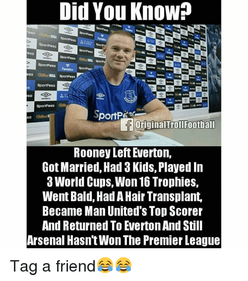 Everton: Did You Know?  sa  HILL  SportPesa  esa  ro  sa  SportPesa  sa Cd HILL SportPesa  SportPesa  Sa  SportPesa  loriginalTrollFootball  ROoney Left Everton,  Got Married, Had 3 Kids, Played In  3 World Cups, Won 16 Trophies,  Went Bald, Had A Hair Transplant,  Became Man United's Top Scorer  And Returned To Everton And Still  Arsenal Hasn'tWon The Premier League Tag a friend😂😂