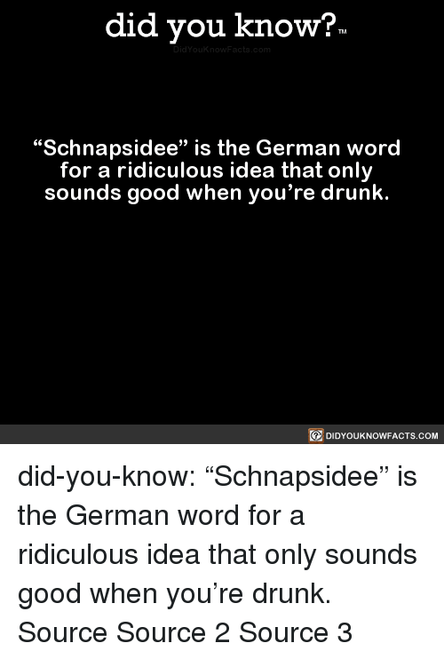 """Youre Drunk: did you know?  """"Schnapsidee"""" is the German word  for a ridiculous idea that only  sounds good when you're drunk.  回DIDYOUKNOWFACTS.COM did-you-know:  """"Schnapsidee"""" is the German word   for a ridiculous idea that only   sounds good when you're drunk.    Source Source 2 Source 3"""