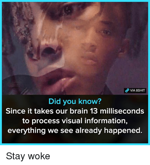 stay woke: Did you know?  Since it takes our brain 13 milliseconds  to process visual information,  everything we see already happened. Stay woke