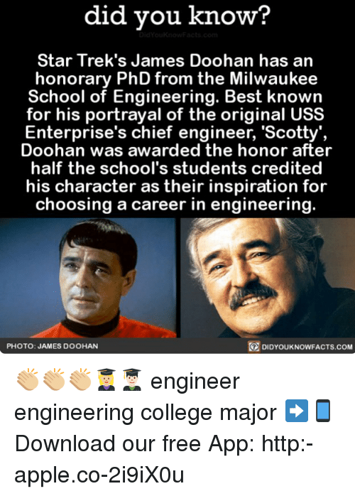 Apple, College, and Memes: did you know?  Star Trek's James Doohan has an  honorary PhD from the Milwaukee  School of Engineering. Best knowin  for his portrayal of the original USS  Enterprise's chief engineer, 'Scotty',  Doohan was awarded the honor after  half the school's students credited  his character as their inspiration for  choosing a career in engineering.  PHOTO: JAMES DOOHAN  DIDYOUKNOWFACTS.COM 👏🏼👏🏼👏🏼👩🏼‍🎓👨🏻‍🎓 engineer engineering college major ➡📱Download our free App: http:-apple.co-2i9iX0u