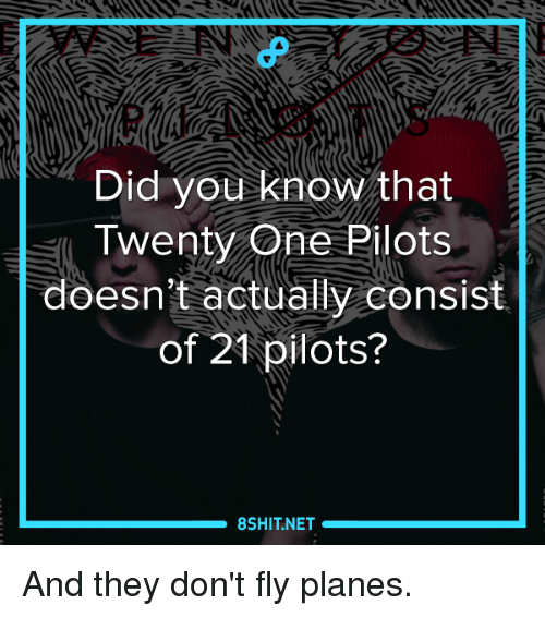 21 Pilots: Did you know that  Twenty One Pilots  doesn't actually consist  of 21 pilots?  8SHITNET And they don't fly planes.