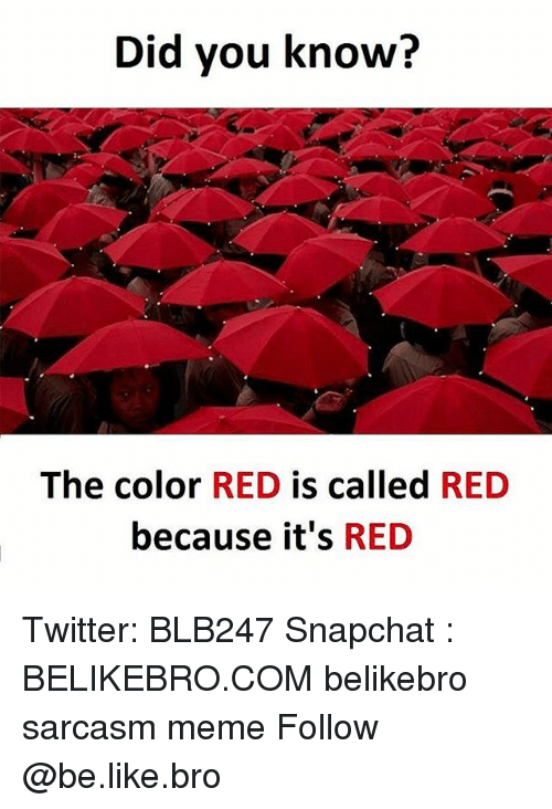 Be Like, Meme, and Memes: Did you know?  The color  RED  is called  RED  because it's  RED Twitter: BLB247 Snapchat : BELIKEBRO.COM belikebro sarcasm meme Follow @be.like.bro