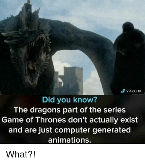 Game of Thrones, Computer, and Game: Did you know?  The dragons part of the series  Game of Thrones don't actually exist  and are just computer generated  animations. What?!