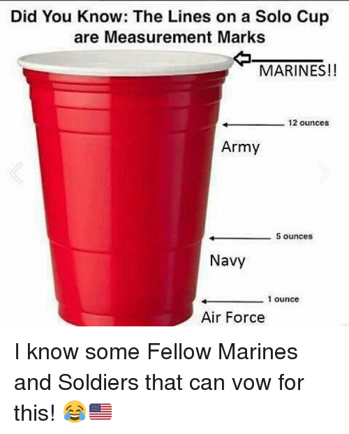 Memes, Soldiers, and Army: Did You Know: The Lines on a Solo Cup  are Measurement Marks  MARINES!!  12 ounces  Army  5 ounces  Navy  1 ounce  Air Force I know some Fellow Marines and Soldiers that can vow for this! 😂🇺🇸