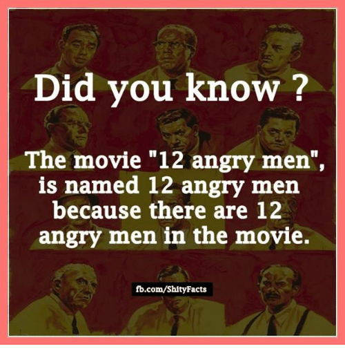 "12 angry men facts ""12 angry men"" is a 1957 film that follows 12 jurors who must come to a unanimous decision as to whether or not a boy is guilty of killing his father."