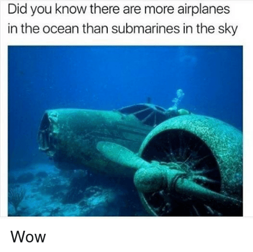 Wow, Ocean, and Dank Memes: Did you know there are more airplanes  in the ocean than submarines in the sky Wow