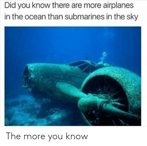submarines: Did you know there are more airplanes  in the ocean than submarines in the sky The more you know