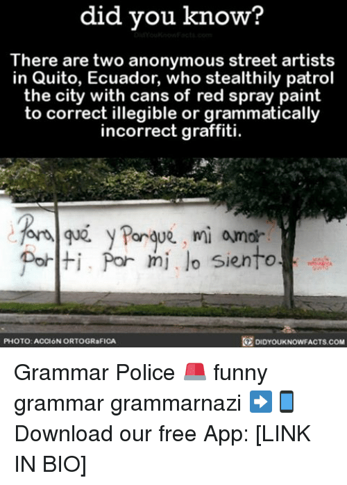 Graffiti, Memes, and Ecuador: did you know?  There are two anonymous street artists  in Quito, Ecuador, who stealthily patrol  the city with cans of red spray paint  to correct illegible or grammatically  incorrect graffiti.  for Porque, mi amor  Polti, Por mi lo siento  DIDYOUKNOWFACTs.coM  PHOTO: ACCION ORTOGR FICA Grammar Police 🚨 funny grammar grammarnazi ➡📱Download our free App: [LINK IN BIO]
