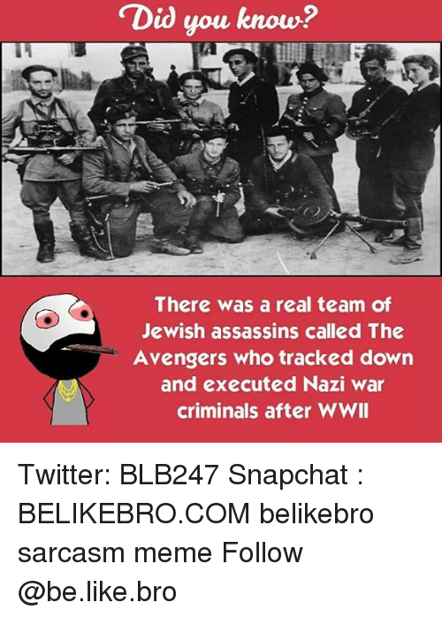Criminations: Did you know?  There was a real team of  Jewish assassins called The  Avengers who tracked down  and executed Nazi war  criminals after WWII Twitter: BLB247 Snapchat : BELIKEBRO.COM belikebro sarcasm meme Follow @be.like.bro