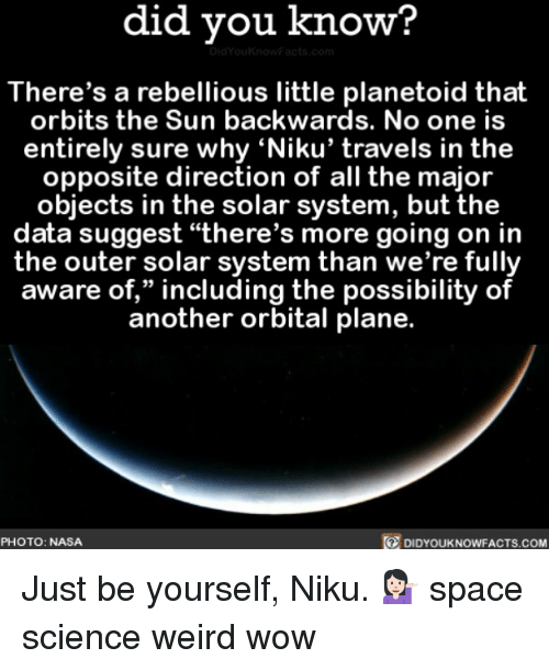 "Just Be Yourself: did you know?  There's a rebellious little planetoid that  orbits the Sun backwards. No one is  entirely sure why 'Niku' travels in the  opposite direction of all the major  objects in the solar system, but the  data suggest ""there's more going on in  the outer solar system than we're fully  aware of,"" including the possibility of  another orbital plane.  PHOTO: NASA  DIDYOUKNOWFACTS.COM Just be yourself, Niku. 💁🏻 space science weird wow"