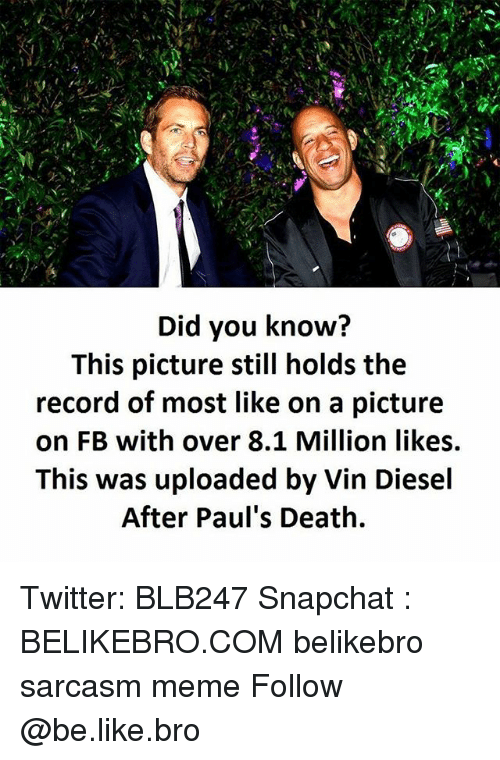 Be Like, Meme, and Memes: Did you know?  This picture still holds the  record of most like on a picture  on FB with over 8.1 Million likes.  This was uploaded by Vin Diesel  After Paul's Death. Twitter: BLB247 Snapchat : BELIKEBRO.COM belikebro sarcasm meme Follow @be.like.bro