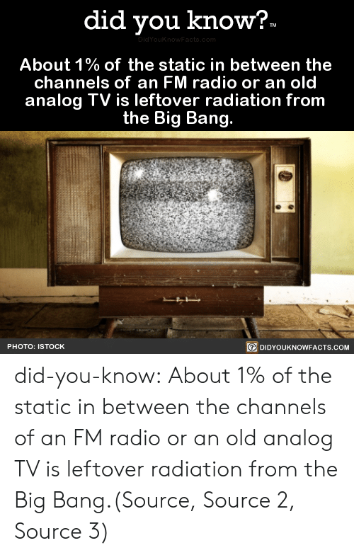 big bang: did you know?  TM  DidYouKnowFacts.com  About 1% of the static in between the  channels of an FM radio or an old  analog TV is leftover radiation from  the Big Bang.  DIDYOUKNOWFACTS.COM  PHOTO: ISTOCK did-you-know:  About 1% of the static in between the channels of an FM radio or an old analog TV is leftover radiation from the Big Bang.(Source, Source 2, Source 3)