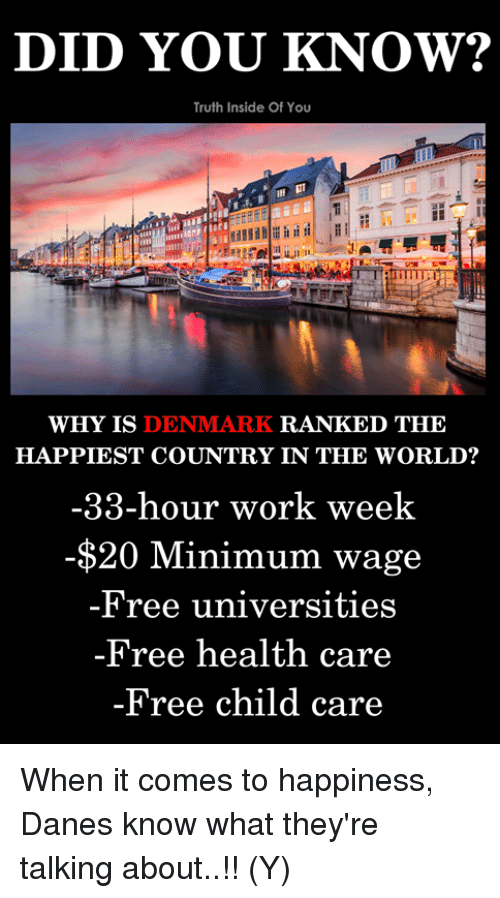Memes, Work, and Denmark: DID YOU KNOW?  Truth Inside Of You  WHY IS DENMARK RANKED THF  HAPPIEST COUNTRY IN THE WORLD?  -33-hour work week  -$20 Minimum wage  Free universitıes  Free health care  -Free child care When it comes to happiness, Danes know what they're talking about..!! (Y)