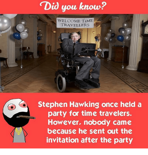 Stephen Hawk: Did you know?  WELCOME TIME  TRAVELLERS  Stephen Hawking once held a  party for time travelers.  However, nobody came  because he sent out the  invitation after the party