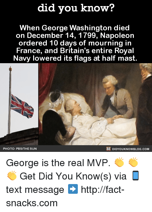 royal navy: did you know?  When George Washington died  on December 14, 1799, Napoleon  ordered 10 days of mourning in  France, and Britain's entire Royal  Navy lowered its flags at half mast  DIDYoukNowBLOG.coM  PHOTO: PBSITHE SUN George is the real MVP.  👏 👏 👏  Get Did You Know(s) via 📱 text message ➡ http://fact-snacks.com