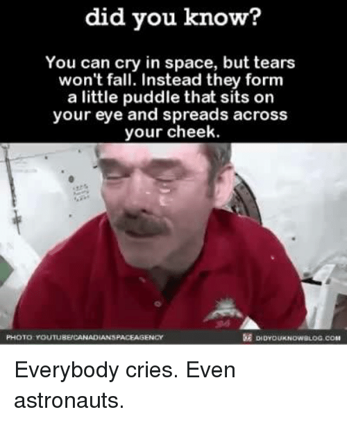 Crying, Dank, and Fall: did you know?  You can cry in space, but tears  won't fall. Instead they form  a little puddle that sits on  your eye and spreads across  your cheek.  KE DIDYou  PHOTO YOUTUBE CANAD Everybody cries. Even astronauts.