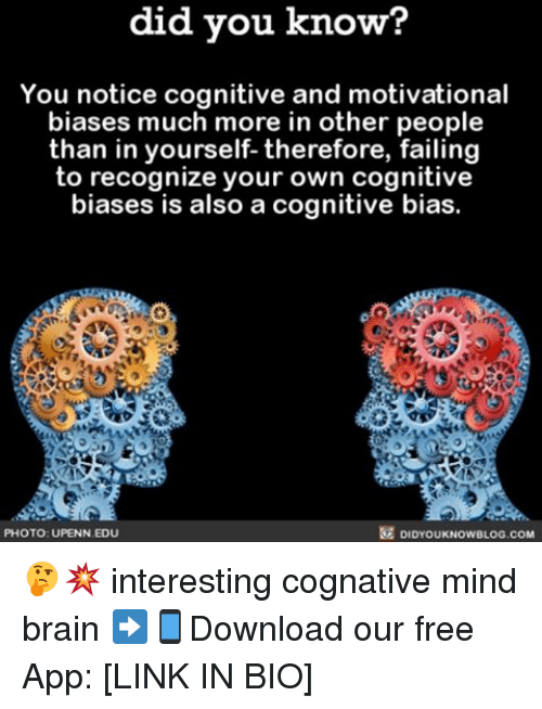 Noticably: did you know?  You notice cognitive and motivational  biases much more in other people  than in yourself- therefore, failing  to recognize your own cognitive  biases is also a cognitive bias.  PHOTO: UPENN EDU  DIDYOUKNOWBLOG.COM 🤔💥 interesting cognative mind brain ➡📱Download our free App: [LINK IN BIO]