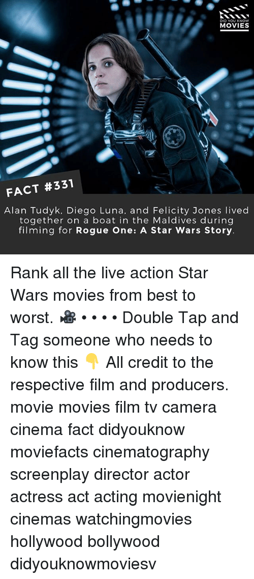 rogue-one: DID YOU KNOWw  MOVIES  FACT #331  Alan Tudyk, Diego Luna, and Felicity Jones lived  together on a boat in the Maldives during  filming for Rogue One: A Star Wars Story Rank all the live action Star Wars movies from best to worst. 🎥 • • • • Double Tap and Tag someone who needs to know this 👇 All credit to the respective film and producers. movie movies film tv camera cinema fact didyouknow moviefacts cinematography screenplay director actor actress act acting movienight cinemas watchingmovies hollywood bollywood didyouknowmoviesv