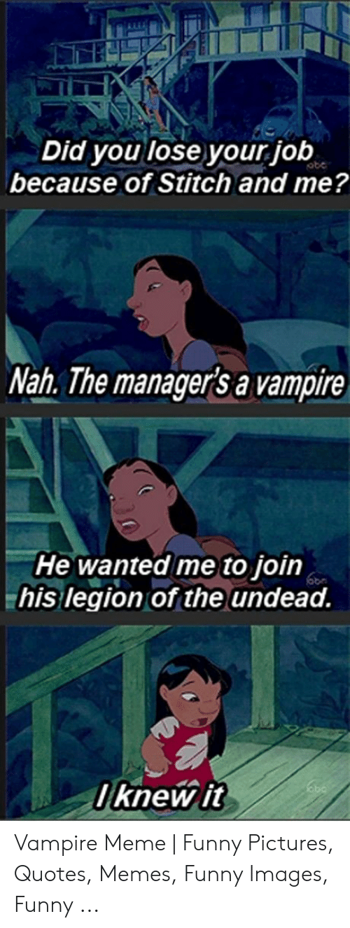 Funny Vampire Memes: Did you lose your job  because of Stitch and me?  Nah. The manager's a vampire  He wanted me to join  his legion of the undead.  l knew it Vampire Meme | Funny Pictures, Quotes, Memes, Funny Images, Funny ...