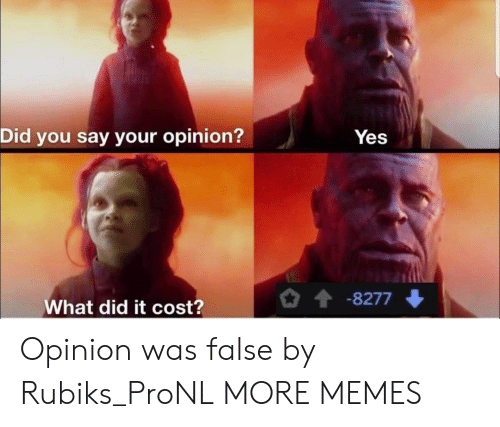 did-you-say: Did you say your opinion?  Yes  -8277  What did it cost? Opinion was false by Rubiks_ProNL MORE MEMES