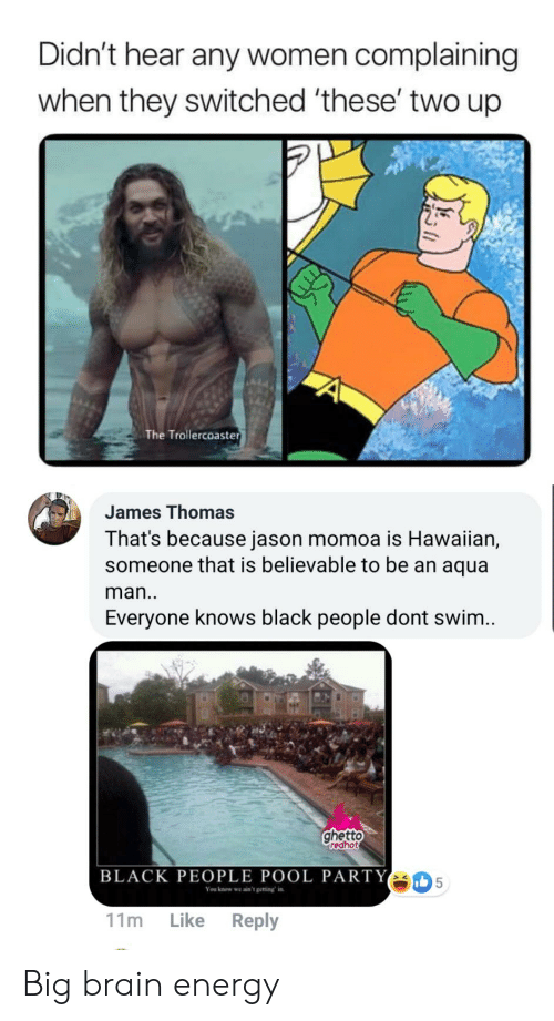 Ghetto Redhot: Didn't hear any women complaining  when they switched 'these' two up  The Trollercoaster  James Thomas  That's because jason momoa is Hawaiian,  someone that is believable to be an aqua  man..  Everyone knows black people dont swim..  ghetto  redhot  BLACK PEOPLE POOL PARTY  5  You know we ain't getting in  Like Reply  11m Big brain energy