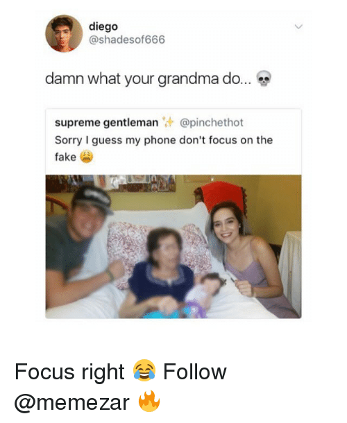 fakings: diego  @shadesof666  damn what your grandma do  supreme gentleman @pinchethot  Sorry I guess my phone don't focus on the  fake Focus right 😂 Follow @memezar 🔥