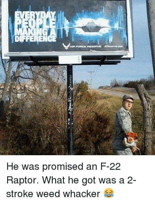 Memes, Weed, and Air Force: DIFFEREN  AIR FORCE AGSERME Reserve He was promised an F-22 Raptor. What he got was a 2-stroke weed whacker 😂