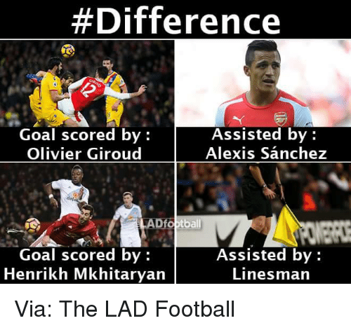 Memes, Alexis Sanchez, and 🤖:  #Difference  Assisted by  Goal scored by  Alexis Sanchez  Olivier Giroud  LADfoptball  Goal scored by  Assisted by  Henrikh Mkhitaryan  Linesman Via: The LAD Football