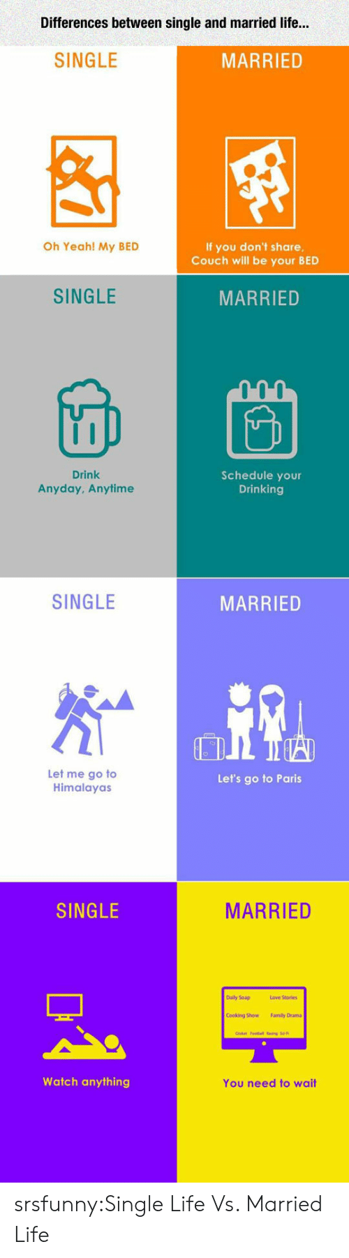 Married Life: Differences between single and married life...  SINGLE  MARRIED  Oh Yeah! My BED  If you don't share  Couch will be your BED  SINGLE  MARRIED  Drink  Anyday, Anytimee  Schedule your  Drinking  SINGLE  MARRIED  Let me go to  Himalayas  Let's go to Paris  SINGLE  MARRIED  Daily Soap  Love Stories  Cooking Sow  Family Dram  Watch anything  You need to wait srsfunny:Single Life Vs. Married Life