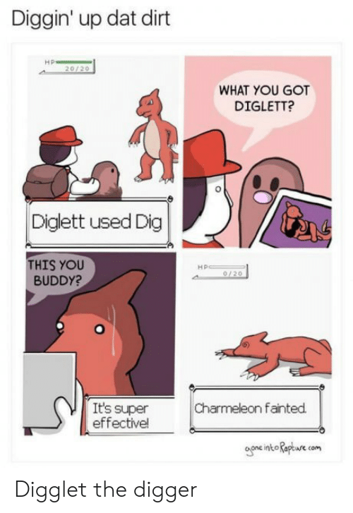 digger: Diggin' up dat dirt  20/20  WHAT YOU GOT  DIGLETT?  0  Diglett used Dig  THIS YOU  BUDDY?  Hp  0/20  Charmeleon fainted.  It's super  effectivel  oone intoRaptre com  oone int aptwre Digglet the digger