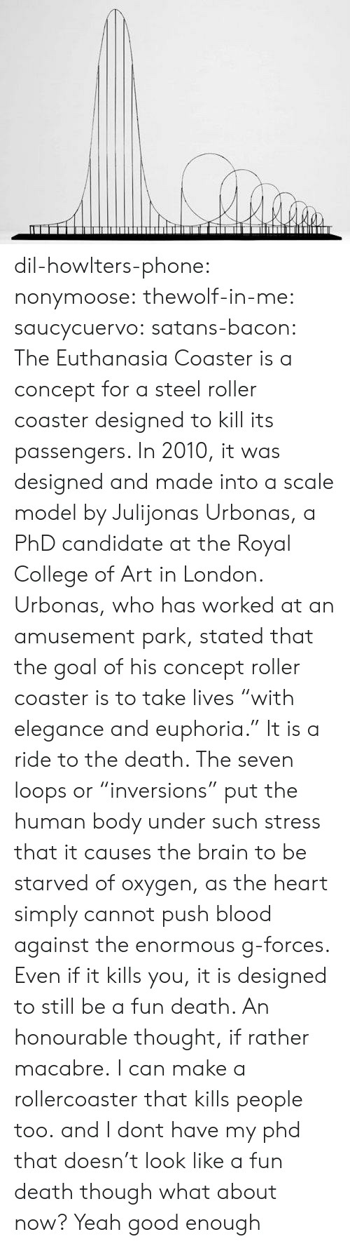 """Dil: dil-howlters-phone:  nonymoose:  thewolf-in-me:  saucycuervo:  satans-bacon: The Euthanasia Coaster is a concept for a steel roller coaster designed to kill its passengers. In 2010, it was designed and made into a scale model by Julijonas Urbonas, a PhD candidate at the Royal College of Art in London. Urbonas, who has worked at an amusement park, stated that the goal of his concept roller coaster is to take lives """"with elegance and euphoria."""" It is a ride to the death. The seven loops or """"inversions"""" put the human body under such stress that it causes the brain to be starved of oxygen, as the heart simply cannot push blood against the enormous g-forces. Even if it kills you, it is designed to still be a fun death. An honourable thought, if rather macabre. I can make a rollercoaster that kills people too. and I dont have my phd   that doesn't look like a fun death though   what about now?   Yeah good enough"""