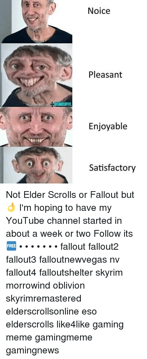 Gaming Meme: DILANCLIFFIIL  Noice  Pleasant  Enjoyable  Satisfactory Not Elder Scrolls or Fallout but 👌 I'm hoping to have my YouTube channel started in about a week or two Follow its 🆓 • • • • • • • fallout fallout2 fallout3 falloutnewvegas nv fallout4 falloutshelter skyrim morrowind oblivion skyrimremastered elderscrollsonline eso elderscrolls like4like gaming meme gamingmeme gamingnews