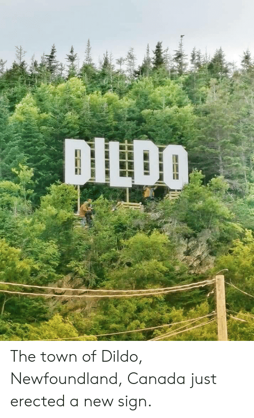 the town: DILDO The town of Dildo, Newfoundland, Canada just erected a new sign.