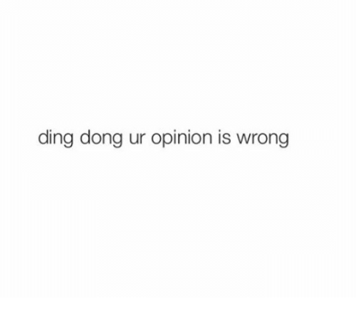 ding dong: ding dong ur opinion is wrong