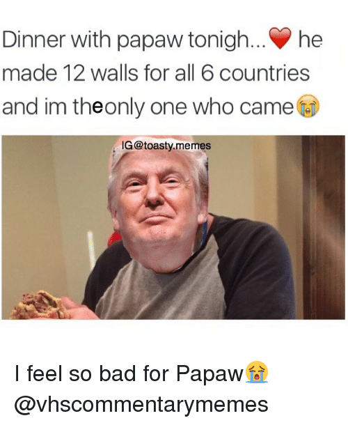 Bad, Meme, and Memes: Dinner with papaw tonigh... he  made 12 walls for all 6 countries  and im theonly one who came  IG@toasty memes I feel so bad for Papaw😭 @vhscommentarymemes