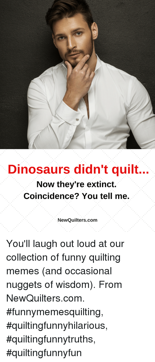 Funny, Memes, and Dinosaurs: Dinosaurs didn't quilt...  Now they're extinct.  Coincidence? You tell me.  NewQuilters.com You'll laugh out loud at our collection of funny quilting memes (and occasional nuggets of wisdom). From NewQuilters.com. #funnymemesquilting, #quiltingfunnyhilarious, #quiltingfunnytruths, #quiltingfunnyfun