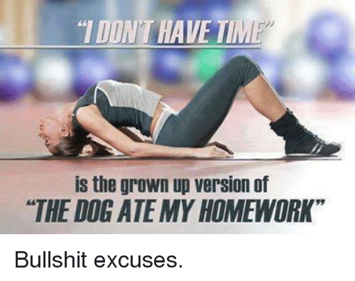 "dog ate my homework: DINTHAVE TIM  is the grown up version of  ""THE DOG ATE MY HOMEWORK"" Bullshit excuses."
