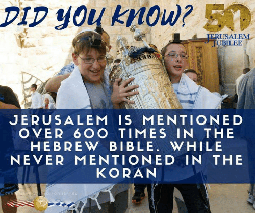 Ilee: DIp you kMow? 50  ERUSALEN  ILEE  JERUSALEM IS MENTIONED  OVER 6 OO TIMES IN THE  HEBREW BIBLE. WHILE  NEVER MENTIONED IN THE  KORAN