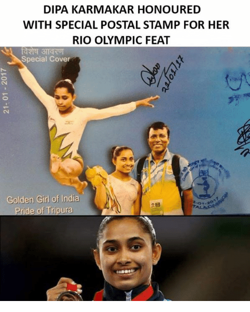 Rio Olympic: DIPA KARMA KAR HONOURED  WITH SPECIAL POSTAL STAMP FOR HER  RIO OLYMPIC FEAT  Special Cover  Golden Girl of India  Pride of Tripura