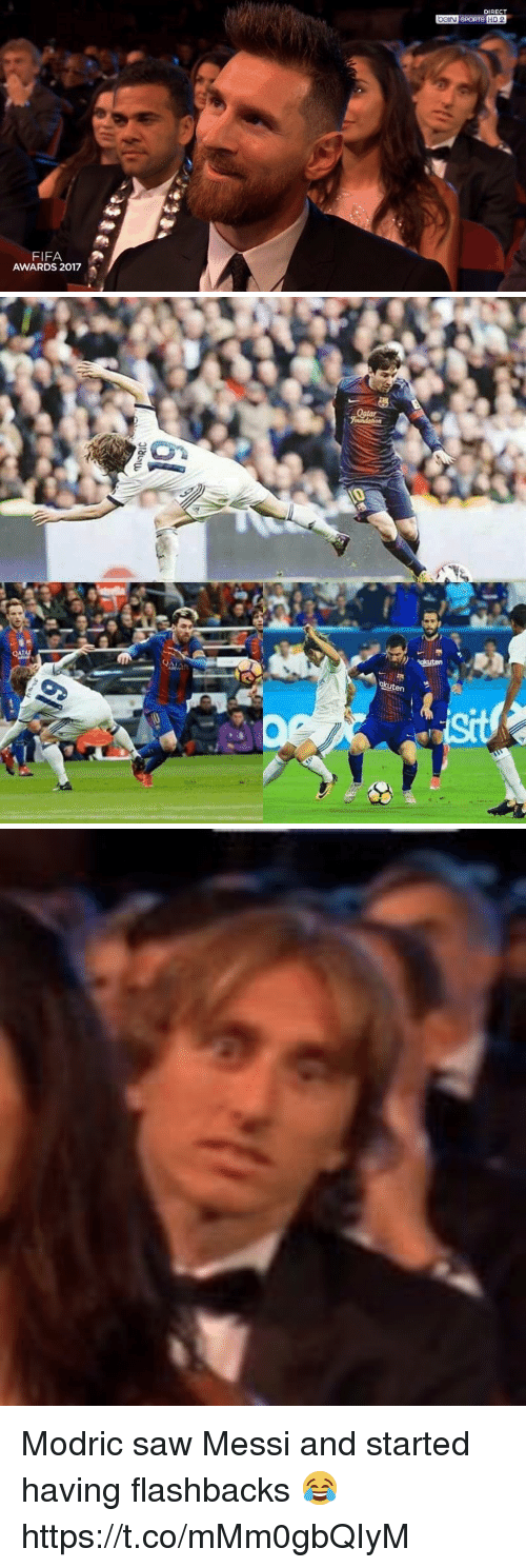 Fifa, Saw, and Soccer: DIRECT  FIFA  AWARDS 2017   akuten Modric saw Messi and started having flashbacks 😂 https://t.co/mMm0gbQIyM