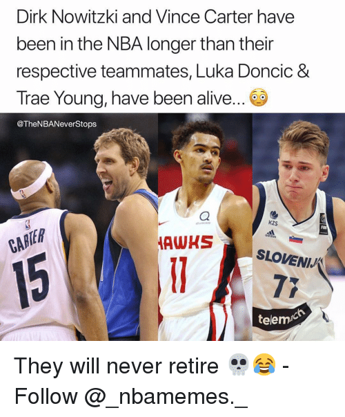 Alive, Dirk Nowitzki, and Memes: Dirk Nowitzki and Vince Carter have  been in the NBA longer than their  respective teammates, Luka Doncic &  Trae Young, have been alive.  @TheNBANeverStops  kzS  adidos  TER  HSLOVENIJ  telemic They will never retire 💀😂 - Follow @_nbamemes._